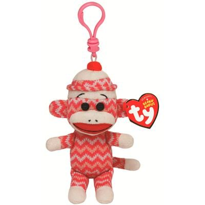 Ty Beanie Sock Monkey Zig-Zag Pink - Super Sock Monkey