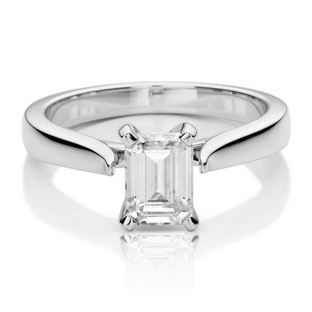 14K White Gold Moissanite Emerald Solitaire Ring 1.01 DEW