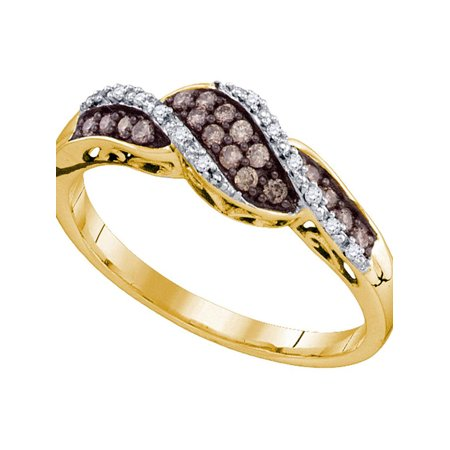 10kt Yellow Gold Womens Round Cognac-brown Color Enhanced Diamond Band Ring 1/5 Cttw - image 1 of 1