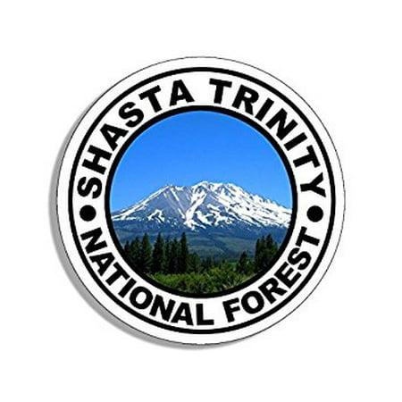 Trinity Sticker (Round SHASTA TRINITY National Forest Sticker Decal (travel rv oregon hike) Size: 4 x 4)