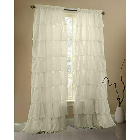Gee Di Moda Cream Ruffle Curtains Gypsy Lace Curtains for Bedroom Curtains for Living Room - Cream 60x63 inch Ruffled Curtains for Kids Room Shabby Chic Curtain for Nursery Kids Curtains for Girls