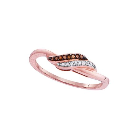 - 10kt Rose Gold Womens Round Red Color Enhanced Diamond Slender Crossover Ring 1/20 Cttw