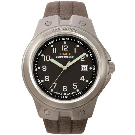 Men's Expedition Metal Tech Watch, Brown Leather Strap Guess Brown Leather Strap