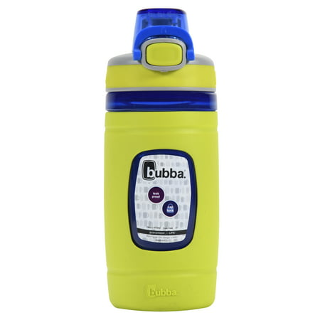 bubba Kids Water Bottle with Silicone Sleeve | Flo BPA-Free Water Bottle with Wide Mouth, 16 oz, Neon