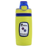 bubba Kids Water Bottle with Silicone Sleeve   Flo BPA-Free Water Bottle with Wide Mouth, 16 oz, Neon Pear
