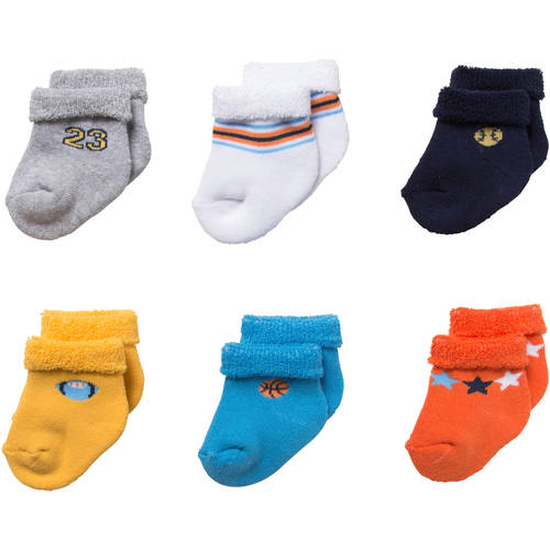 Gerber Newborn Baby Boy Terry Bootie Socks, 6-Pack