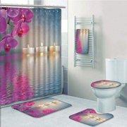 PRTAU Zen Japanese Candle Relaxing Environment Cherry Blossoms Asian Inspirations 5 Piece Bathroom Set Shower Curtain Bath Towel Bath Rug Contour Mat and Toilet Lid Cover