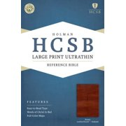 HCSB Large Print Ultrathin Reference Bible, Brown LeatherTouch Indexed