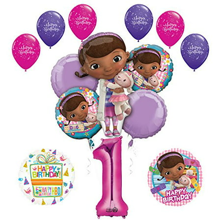 Doc McStuffins 1st Birthday Party Supplies and Balloon Bouquet Decorations (Doc Mcstuffins Birthday Party)