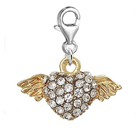 Heart Angel Wings Charm Clip on Pendant for European Charm Jewelry w/ Lobster Clasp ()