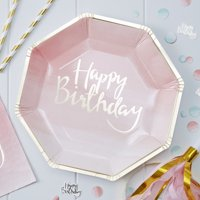 Ginger Ray Happy Birthday Pink Ombre with Gold Foiling Plate - 8 Pack