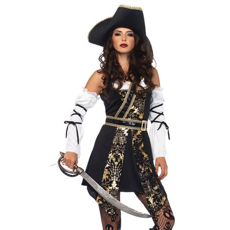 Leg Avenue Womens 4 PC Plus Size Black Sea Buccaneer Costume - Buccaneer Babe Costume