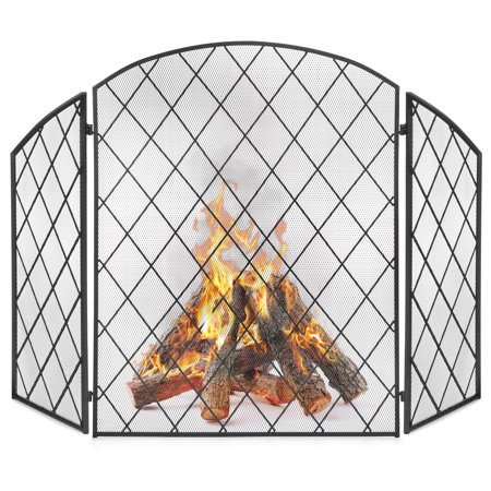 Best Choice Products 3-Panel 50x30in Wrought Iron Decorative Mesh Fireplace Screen Gate Protector, Fire Spark Guard for Indoor and Outdoor with Folding Side Panels, Black