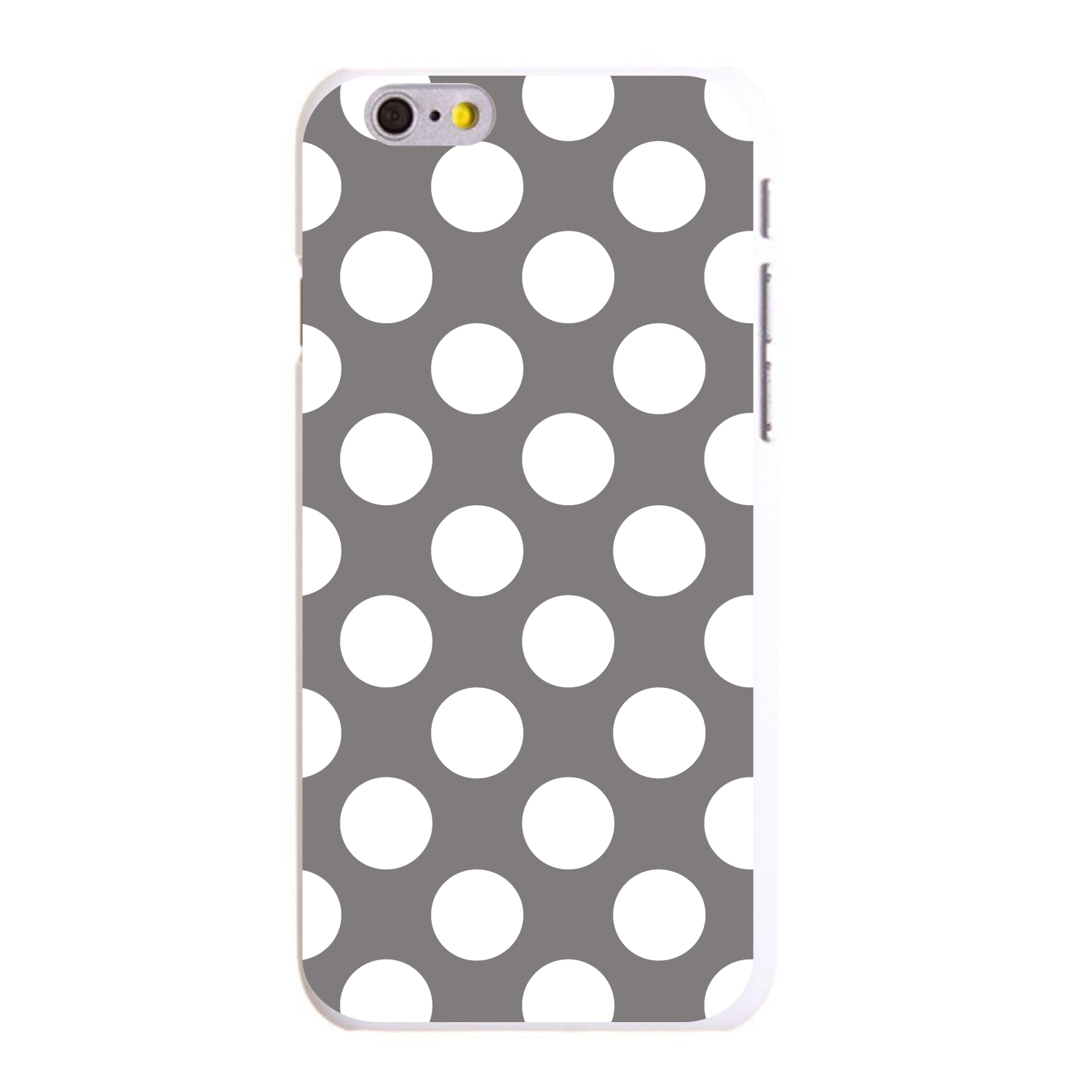 "CUSTOM White Hard Plastic Snap-On Case for Apple iPhone 6 PLUS / 6S PLUS (5.5"" Screen) - White & Grey Polka Dots"
