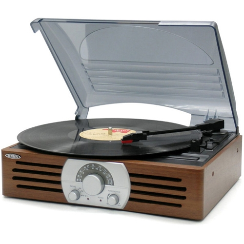 Jensen AM/FM Radio Home Stereo Record Player 3-Speet Turntable System JEN-JTA-222