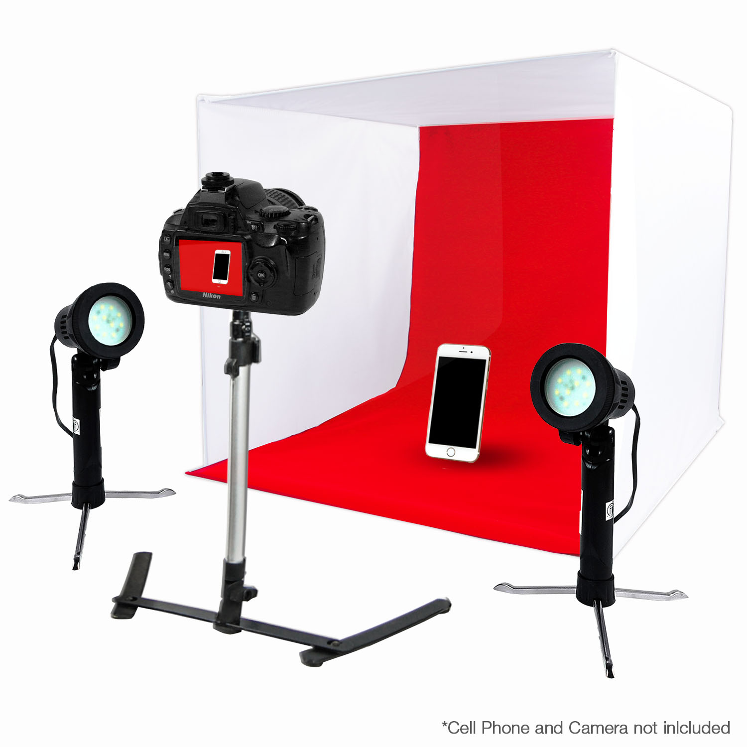 "24"" LED Folding Tabletop Photo Tent Cube Box Lighting Kit with 2x Portable LED Lights, 1x Tripod, 4x Backdrops by Loadstone Studio WMLS0061"