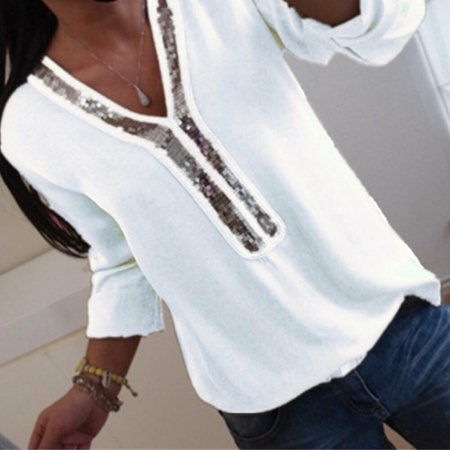 - Women Sequins Plus Size Office Top Blouse V Neck Casual Loose T-Shirt Tee White Size L