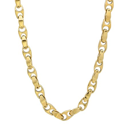 Men's 14k Gold Plated Durable Tungsten 6mm Puffed Mariner Link Chain Necklace, 23.5 14k Gold Marine Link