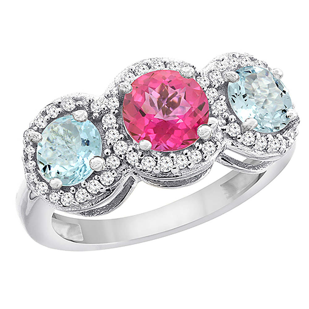 10K White Gold Natural Pink Topaz & Aquamarine Sides Round 3-stone Ring Diamond Accents, sizes 5 10 by WorldJewels