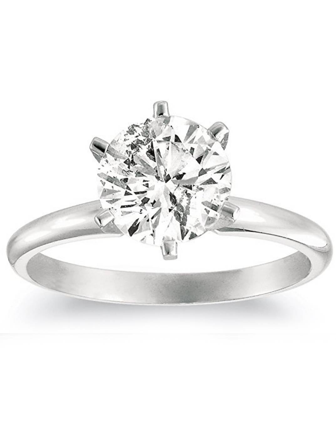 1 1 4ct Solitaire Natural Diamond Engagement Ring 14K White Gold Round Cut by Pompeii3