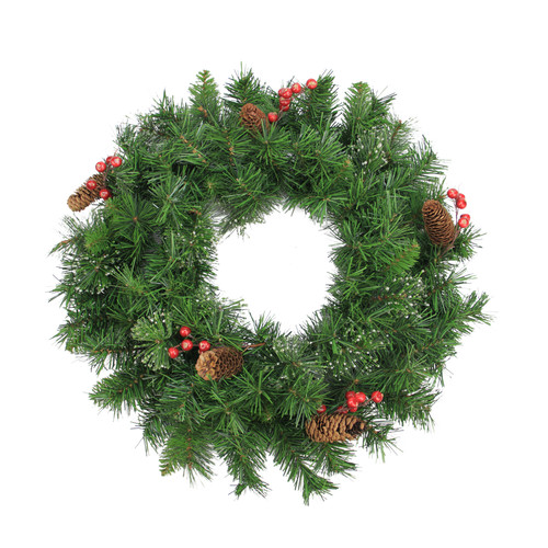 Northlight Seasonal 24'' Iced Mixed Pine Red Berry and Pine Cone Artificial Christmas Wreath