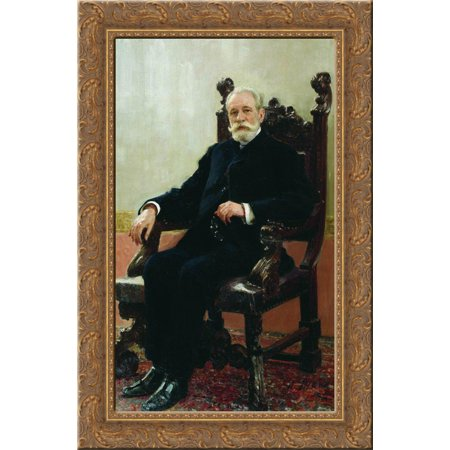 Portrait Of The Chairman Of The Azov Don Commercial Bank In St  Petersburg  A B  Nenttsel 18X24 Gold Ornate Wood Framed Canvas Art By Repin  Ilya
