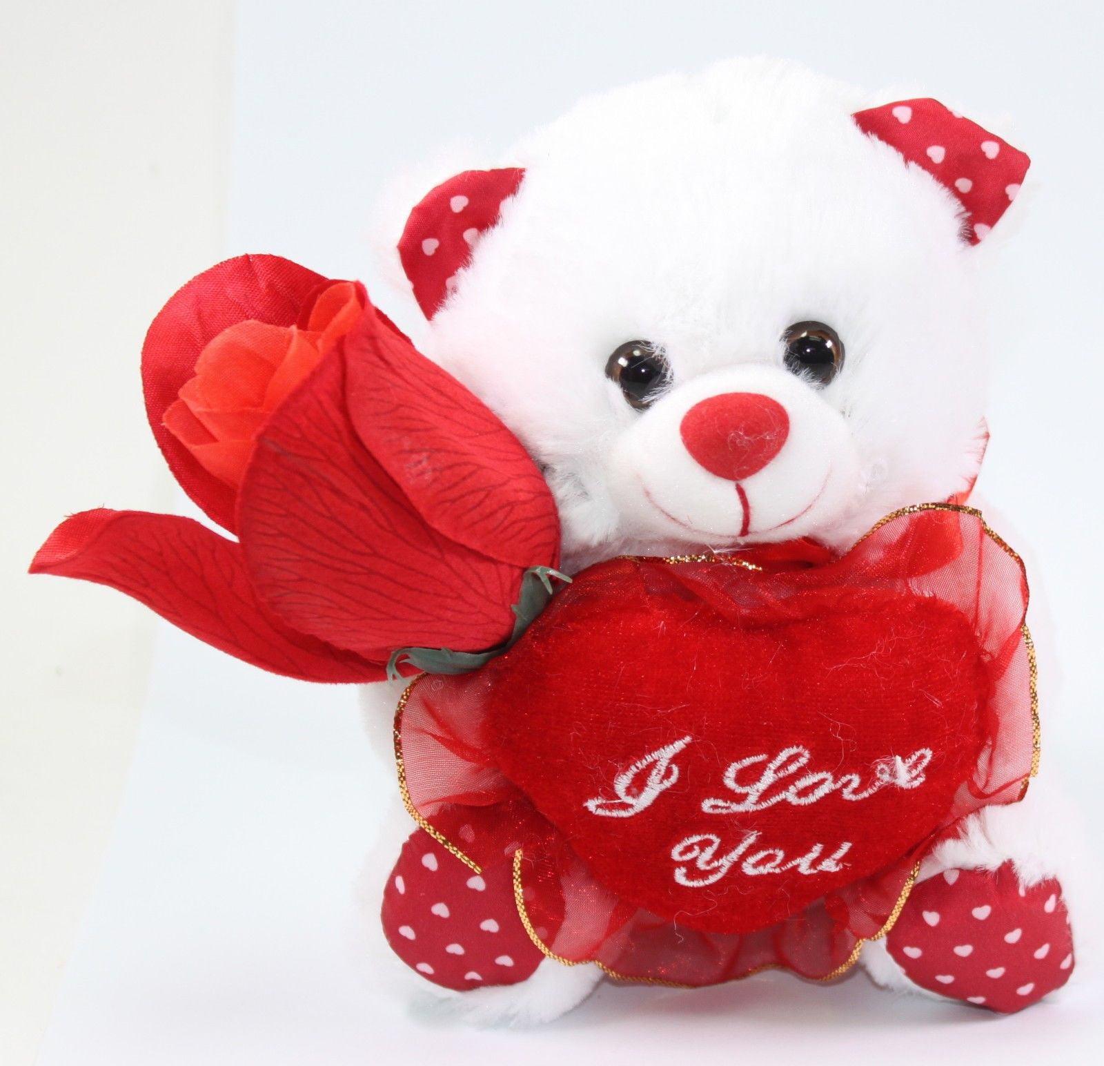 "6"" White I Love You Teddy Bear Red Heart Plush White Valentine Mother Birthday Anniversary Gift Box Set by"