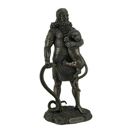 Gilgamesh The Legendary King of Uruk Holding Lion & Serpent Bronze Finish Statue ()