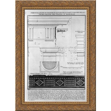 The Roman Antiquities  T  4  Plate Xxxv  Great Vista Of Some Of The First Order Of The Doric Of The Theatre Of Marcellus 20X24 Gold Ornate Wood Framed Canvas Art By Piranesi  Giovanni Battista