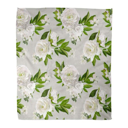 POGLIP Throw Blanket 58x80 Inches Pink Peony White Peonies Pattern Flower Abstract Beautiful Bloom Blooming Warm Flannel Soft Blanket for Couch Sofa Bed - image 1 of 1