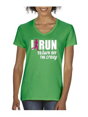 4abe0613 Product Image New Way 624 - Women's V-Neck T-Shirt I Run To Burn Off