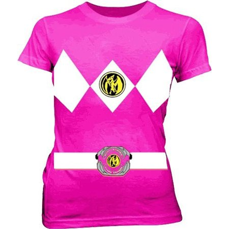 ac28970e3c4 Mighty Morphin Power Rangers Pink Ranger Costume Junior T-Shirt -  Walmart.com