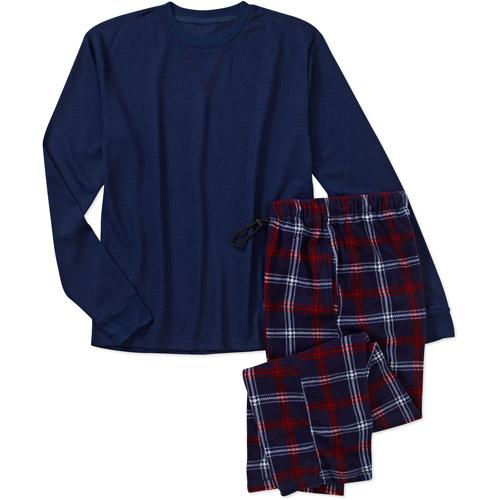 Big Men's Long Sleeve Thermal and Plaid Lounge Pant Set