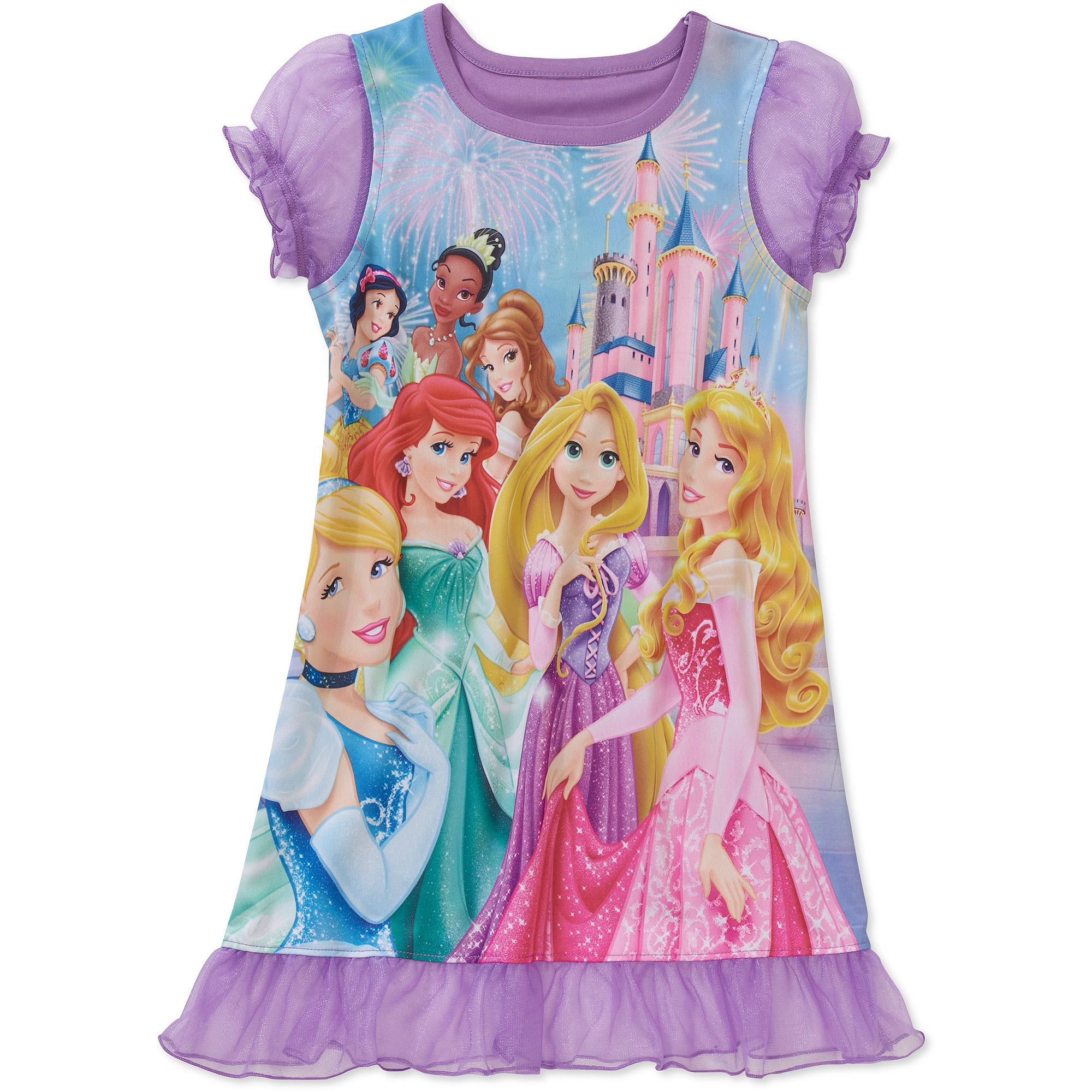 Disney Princesses Baby Toddler Girl Short Sleeve Night Gown