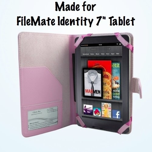 "FileMate Identity 7"" Tablet Pink Leather Executive Folio Case / Cover"