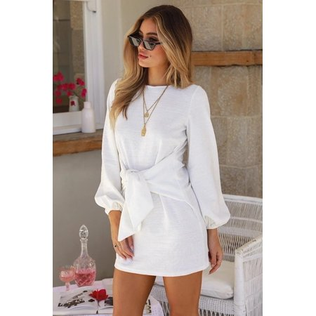 Autumn Winter New Casual Straps Knitted Long-Sleeved Dress Women's Fahion Clothing