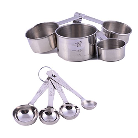 Stainless Steel Cussientials 8 piece Measuring Spoons 1/4 tsp, 1/2 tsp, 1 tsp, 1 Tbsp & Measuring Cups 1/4, 1/2, 3/4, 1 Cup Set High Quality Fine Dining Kitchen Tools and Gadget