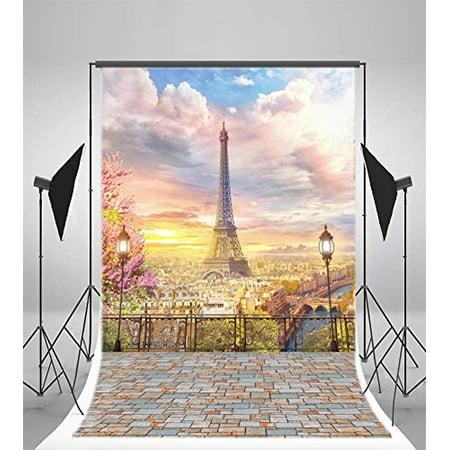 Road Lamp - GreenDecor Polyester 5x7ft Paris Eiffel Tower Backdrops Modern Building Road Lamps Metal Fence Vintage Brick Floor Blue Sky White Cloud Birds Nature Romantic Ph
