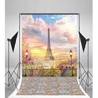 GreenDecor Polyester 5x7ft Paris Eiffel Tower Backdrops Modern Building Road Lamps Metal Fence Vintage Brick Floor Blue Sky White Cloud Birds Nature Romantic Ph