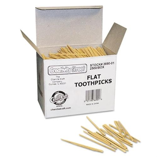 Chenille Kraft Flat Wood Toothpicks, Wood, Natural, 2500/Pack 369001
