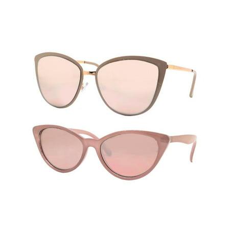 a6bfbf335ee Time and Tru - Time and Tru Women s Metal Sunglasses 2-Pack Bundle  Cat-Eye  Sunglasses and Mini Sunglasses - Walmart.com