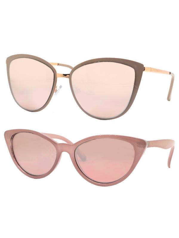Time and Tru Women's Metal Sunglasses 2-Pack Bundle: Cat-Eye Sunglasses and Mini Sunglasses