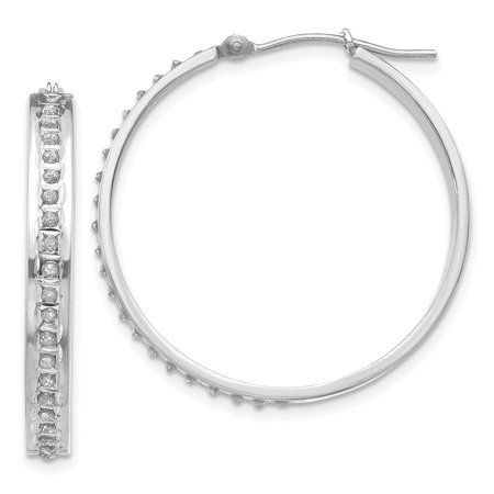 14K White Gold Diamond Fascination Round Hinged Hoop Earrings - image 2 of 2