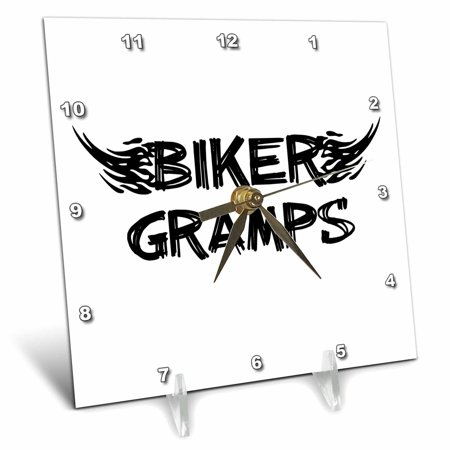 3dRose Biker Gramps. Grunge word art with black and white flames Funny old motorbike grandfather motorcycle, Desk Clock, 6 by 6-inch