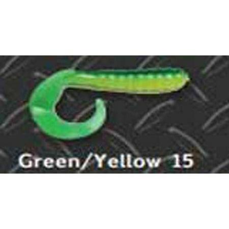Big Bite Curl Tail Grub 2' 10ct Green/Yellow