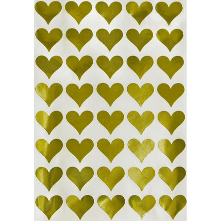 Gold Heart Stickers for arts and crafts, Envelope Seals Foil Hearts, One size - 200 pack](Envelope Seals)