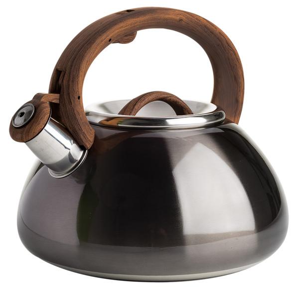 Primula Avalon 2.5 Qt. Stainless Steel Whistling Kettle with Dark Woodgrain Finish Handle - Metallic Gunmetal