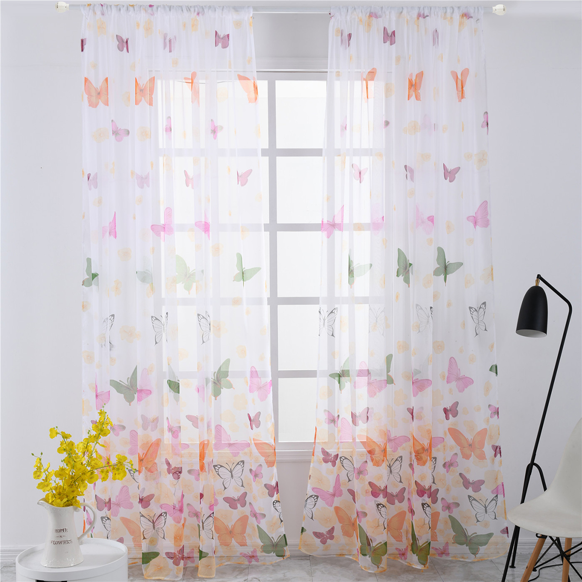 Butterfly Printed Semi Sheer Curtains Flower Window Gauze Living Room Bedroom Window Drape Balcony Tulle Room Divider Walmart Com Walmart Com