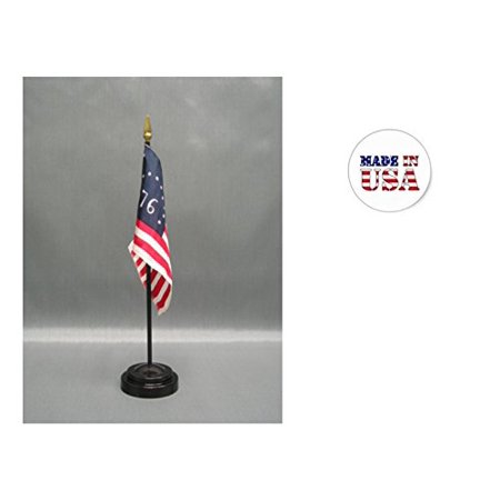 "Made in the USA. 2 Bennington 4""x6"" Miniature Desk & Table Flags Includes 2 Flag Stands & 2 Bennington Small Mini Stick Flags"