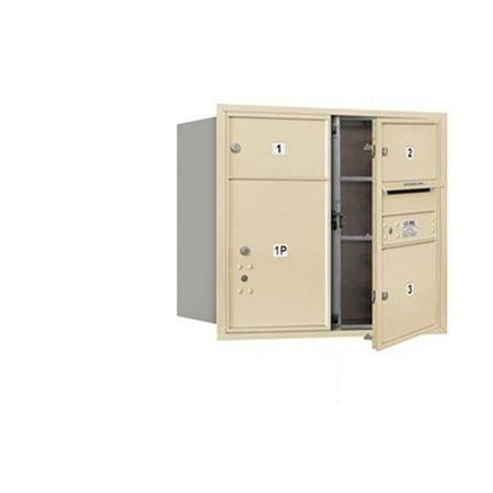 Salsbury 3707D-03SFU 4C Horizontal Mailbox 7 Door High Unit - 27 Inches - Double Column - 2 Mb2 Doors - 1 Mb3 Door - 1 Pl5 - Sandstone - Front Loading - Usps Access Double Front Sandstone Work Dungaree